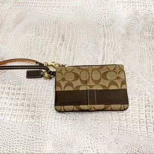 Coach Women's Brown Canvas and Leather Wristlet